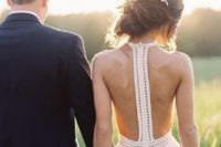 30 boho wedding dress with a racerback and a zip hidden in it