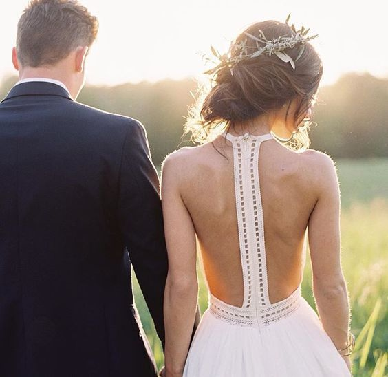 boho wedding dress with a racerback and a zip hidden in it