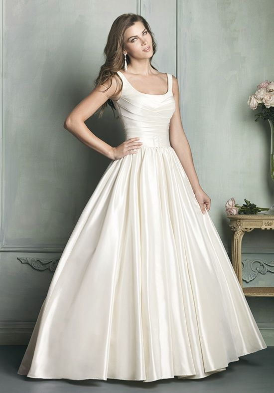 D Scoop Neckline Wedding Ballgown With Thin Straps