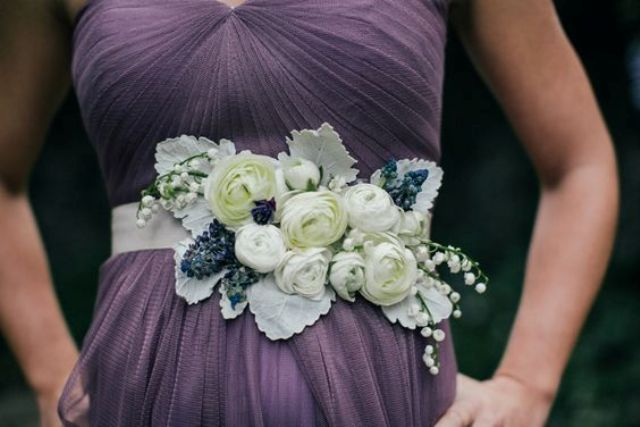 fresh floral belt for a bridesmaid or groomsmaid featuring ranunculus