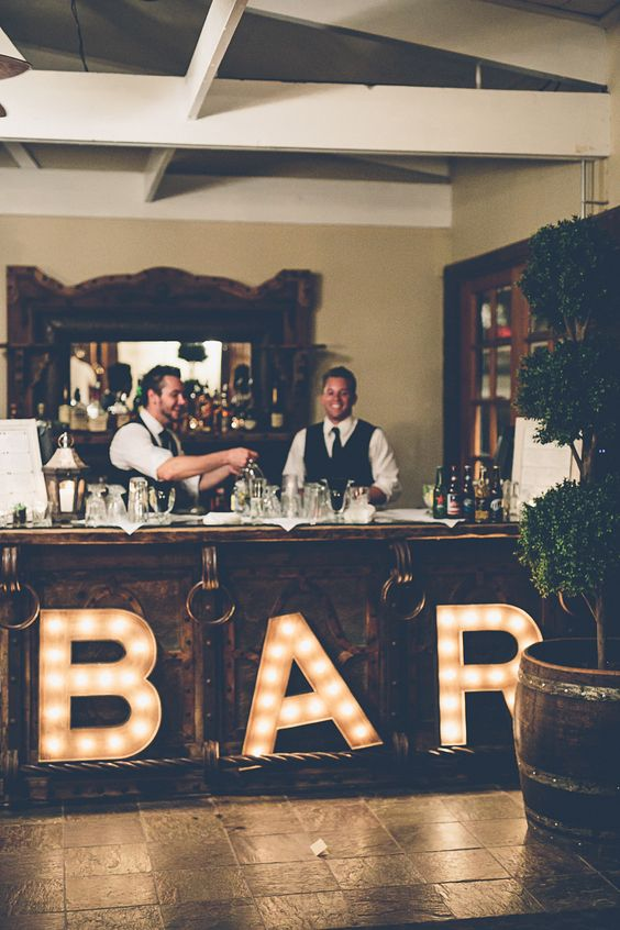 highlight the bar area with large marquee letters