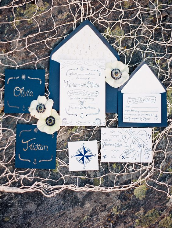 nautical invites in navy and white, with navy calligraphy and prints