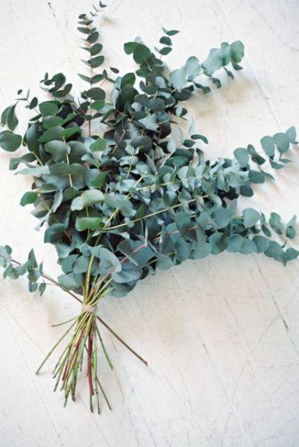 Cineria eucalyptus bridal bouquet