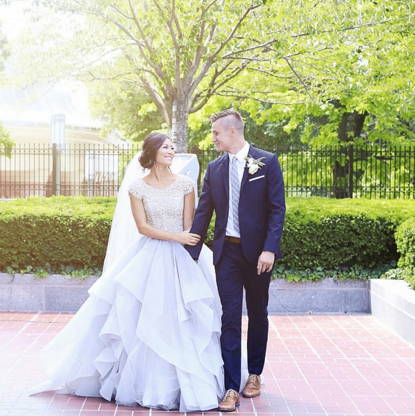 lavender shade wedding ballgown with a crocheted bodice and a layered skirt