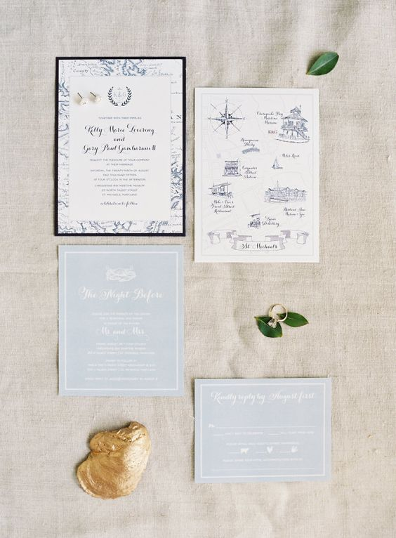 nautical wedding invites with navy prints and light blue parts