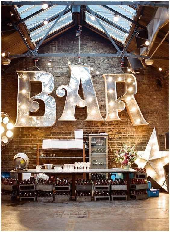 oversized marquee bar signand a lit up star