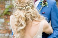 32 braided half updo with baby's breath looks sweet