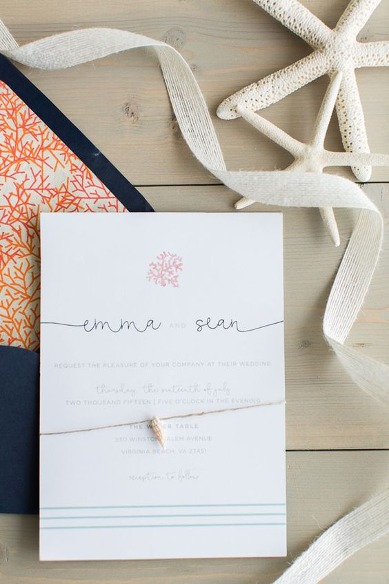 ocean invitations with coral prints and shells attached, bold navy and coral print envelopes