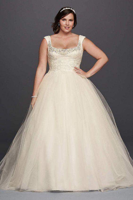 scoop neckline heavily beaded bodice wedding dress