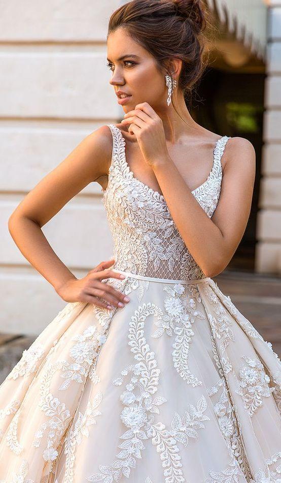 thin straps scoop neckline wedding ballgown, lace appliques all over