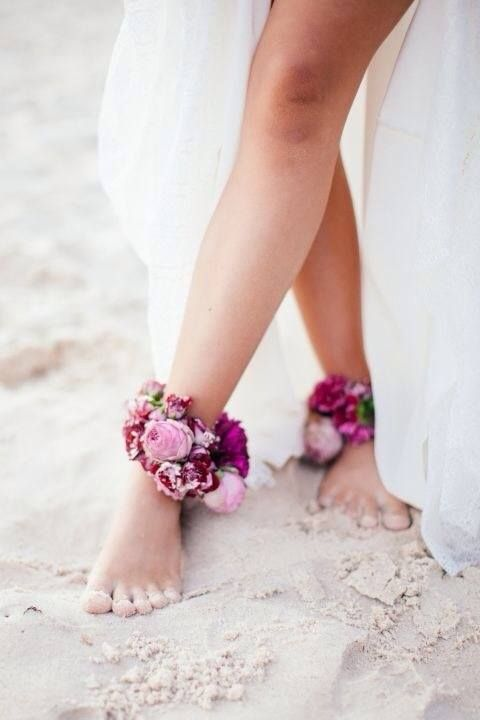 bold floral ankle cuffs for a beach bride
