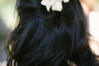 33 half updo with simple white flowers for a beach bride