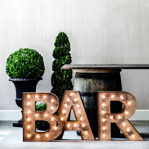 rusty industrial BAR letters for accentuating this area
