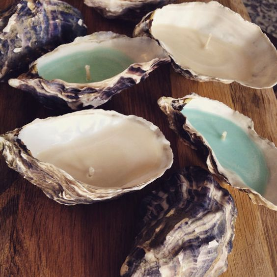 oyster shell candles can be awesome favors for your guests
