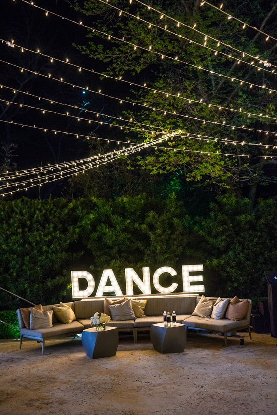 DANCE marquee lights in the lounge area