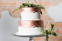 Picture Of White Wedding Cake With Copper Leaf Decor And A Copper - Sphere Wedding Cake