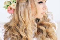 36 gorgeous braided half updo with curly locks and some fresh blooms