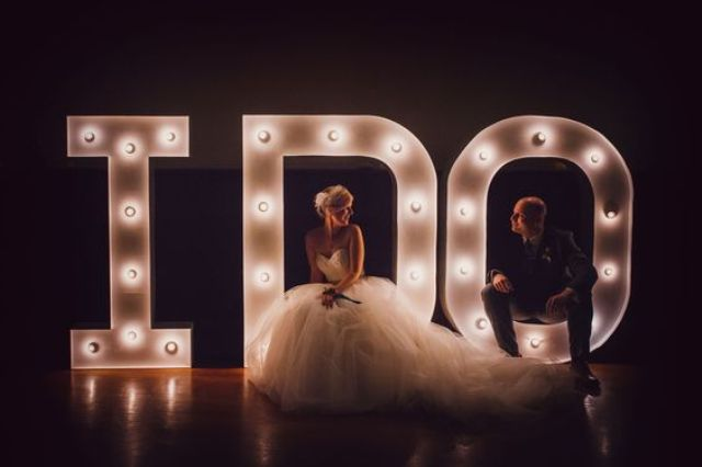 spell out a sweet phrase using giant marquee letters, which provide plenty of wow factor and have a cool retro vibe