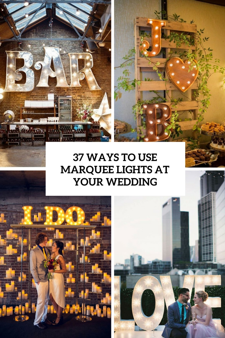 ways to use marquee lights at your wedding cover