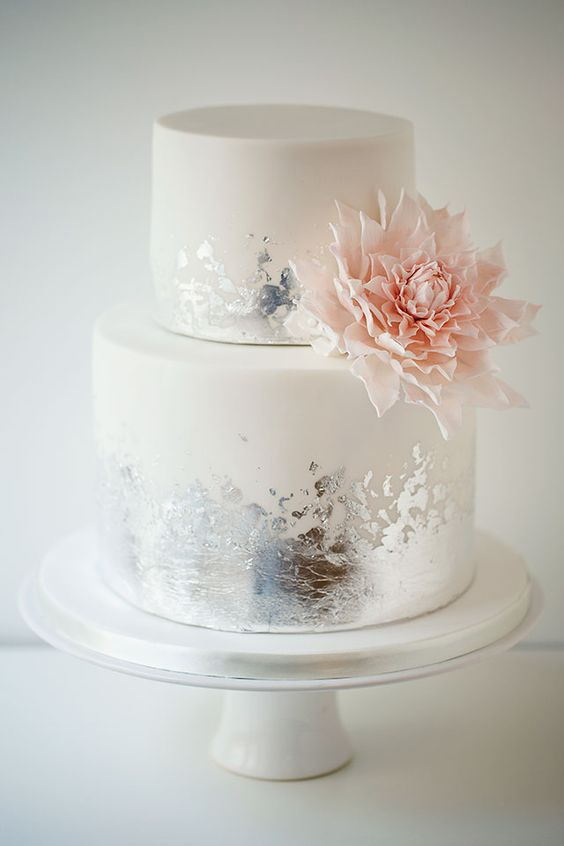 Picture Of white wedding cake with distressed silver leaf ans sugar ...