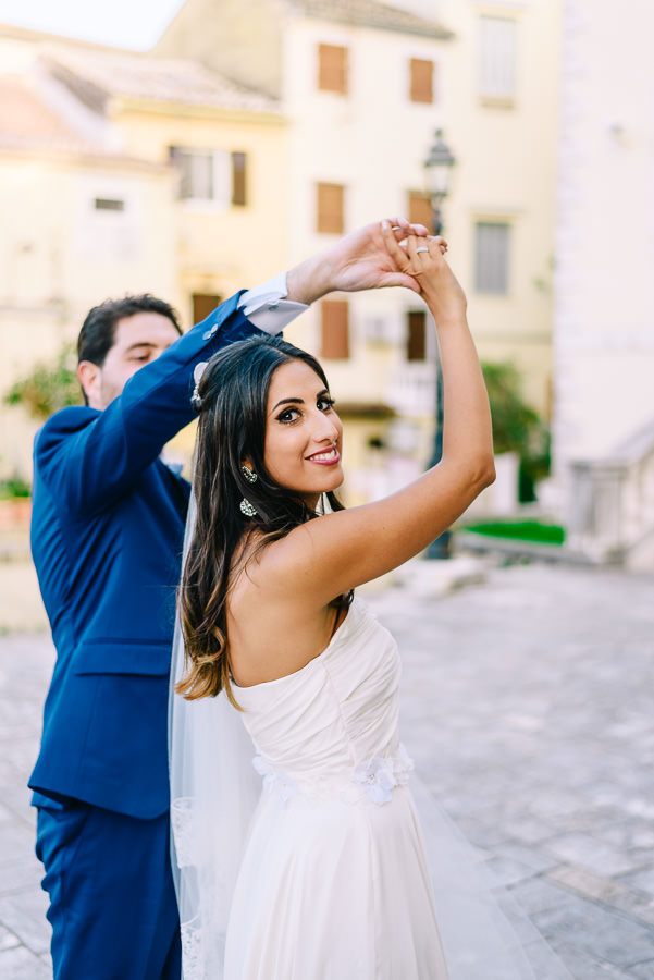 This destination wedding took place in corfu, Greece, with a Catholic ceremony