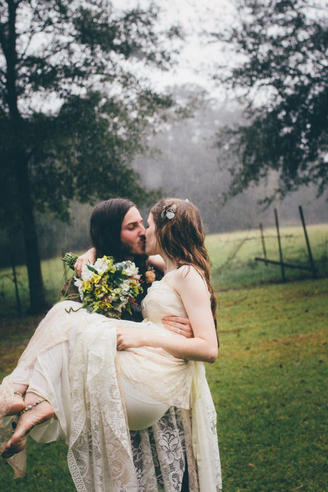 This homespun wedding with boho and fairy vibes took place during a hurricane