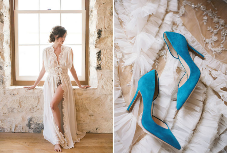 Blue suede heels became a perfect something blue detail for the bride