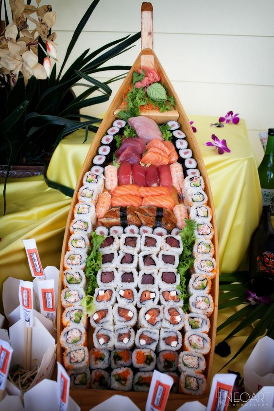 a cool canoe sushi bar for a unique look