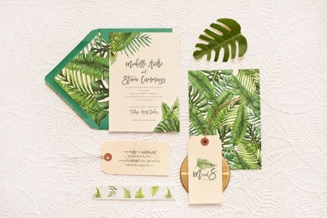 tropical leaf destination wedding stationary