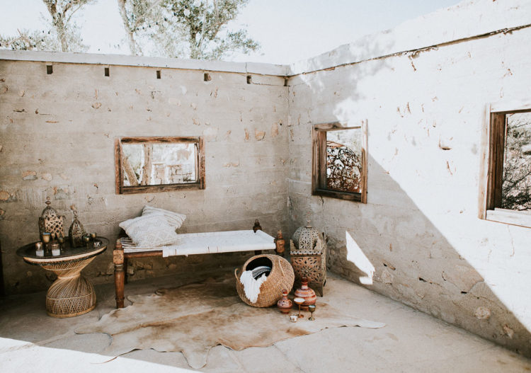 A desert and Morocco-inspired setting with lanterns and baskets