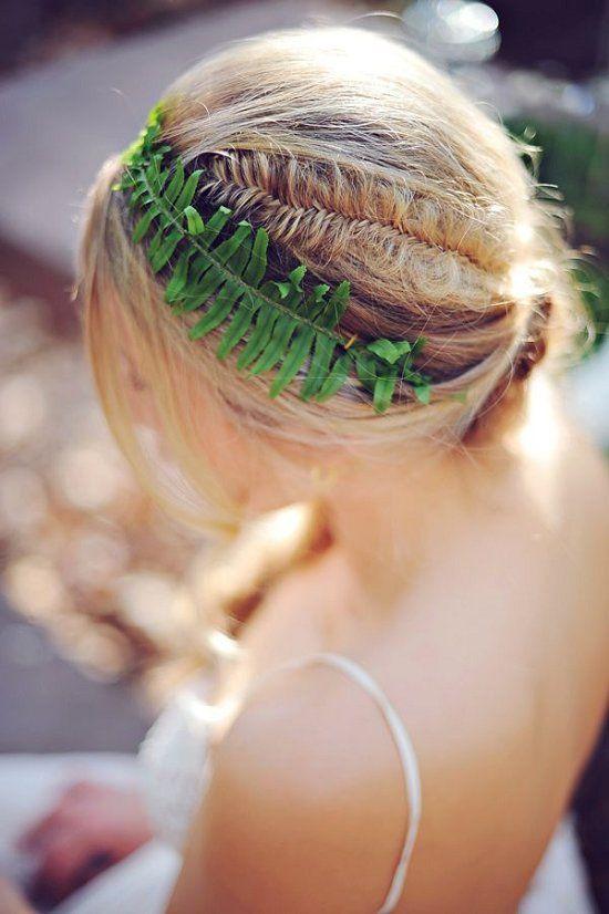 a fern hair accessory for a woodland bride