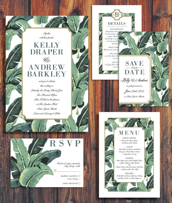 banana leaf print invitations and stationary