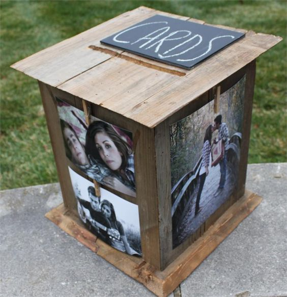 barnwood card box with couple's photos attached