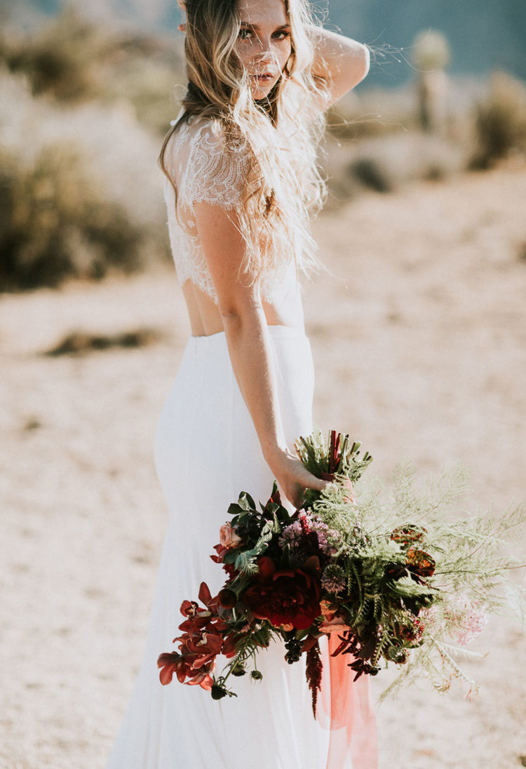 Dark burgundy foraged florals looked awesome in the desert