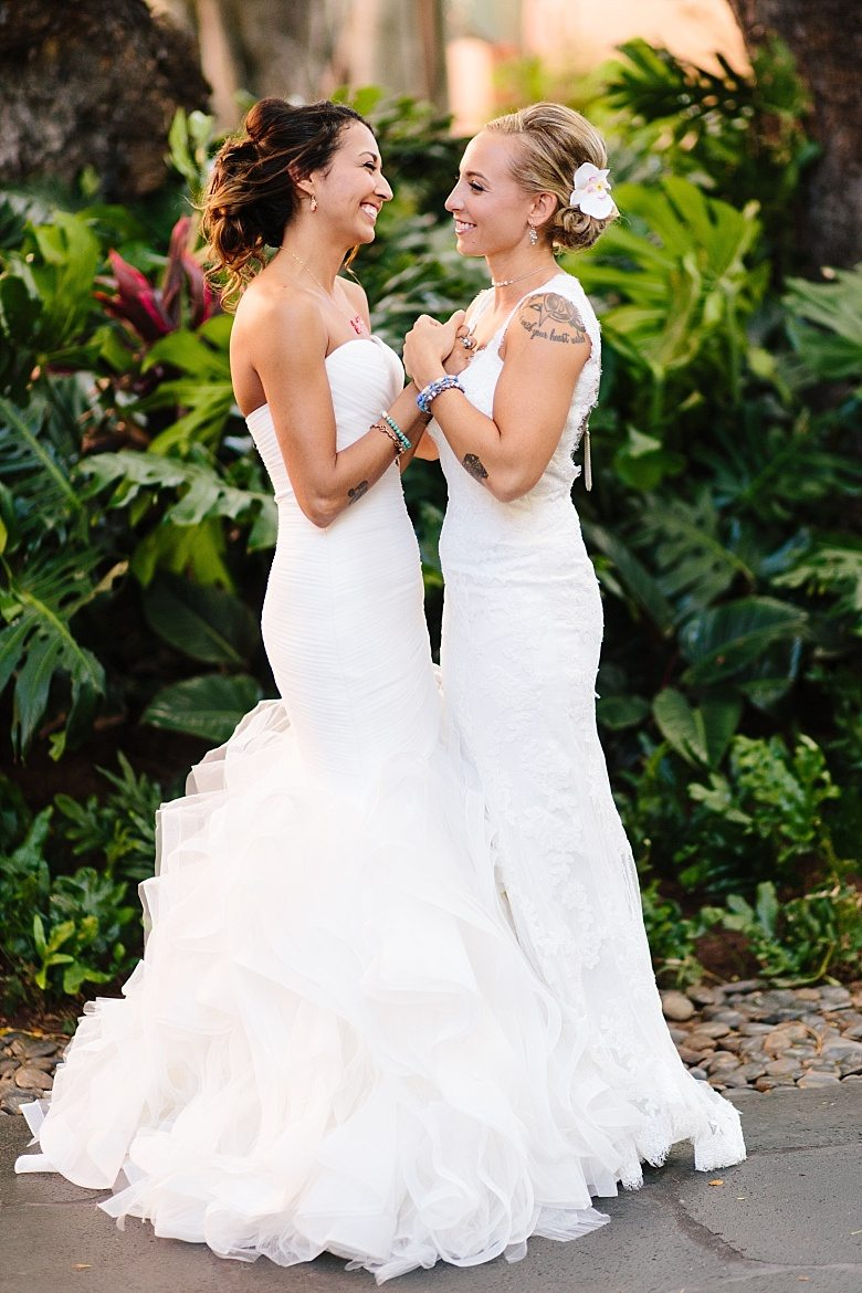 The decond bride prefered a strapless wedding dress with a ruffled skirt