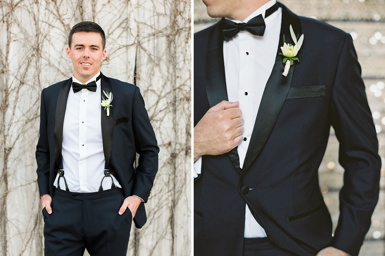 The groom was wearing a classic black tuxedo with suspenders for an elegant look