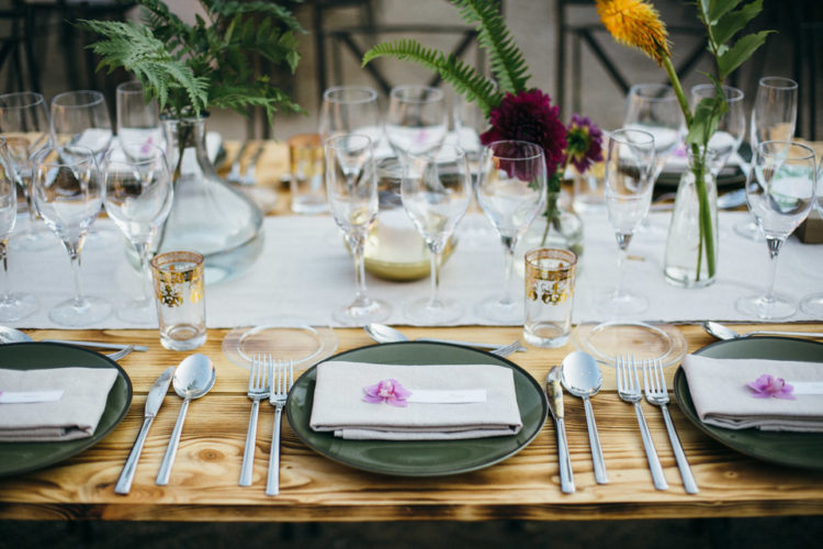 The wedding tablescape was elegant yet bold and tropical-inspired