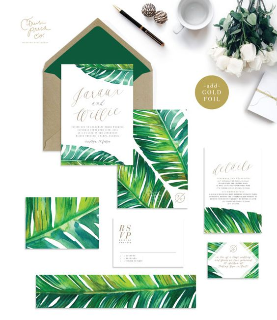 banana leaf tropical palm wedding invitations