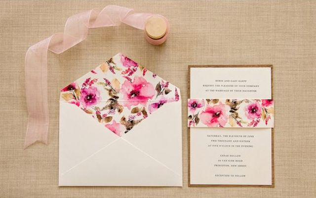 bold purple watercolor wedding stationary for summer