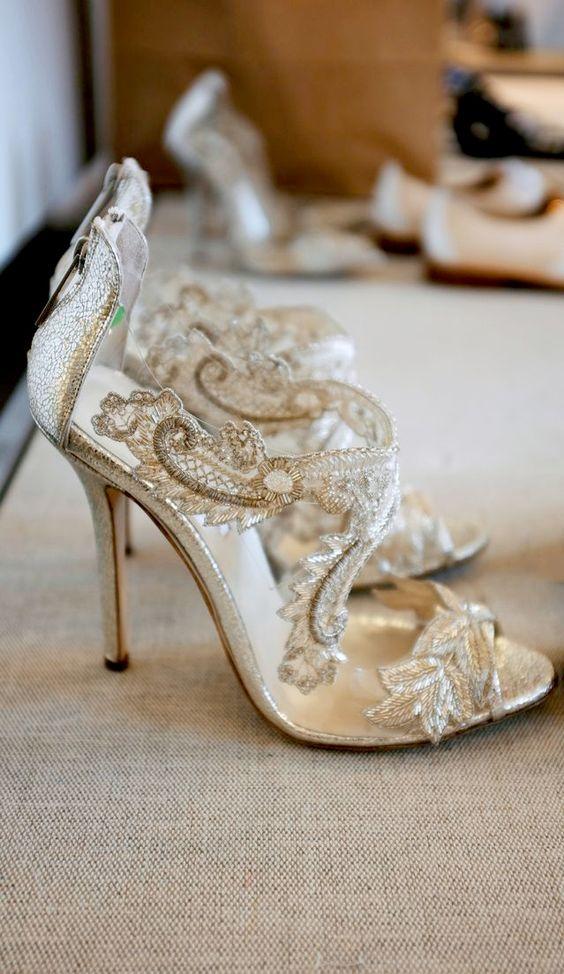 breathtaking, sparkling nude lace high heels with peep toes by Oscar de la Renta