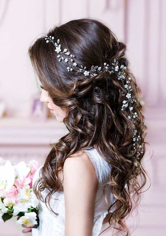 32 beautiful and refined bridal hair vine ideas weddingomania half up half do with a hair vine of pearls and crystals junglespirit Image collections