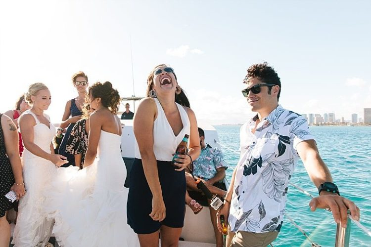 All the guests were invited to a boat to have fun together