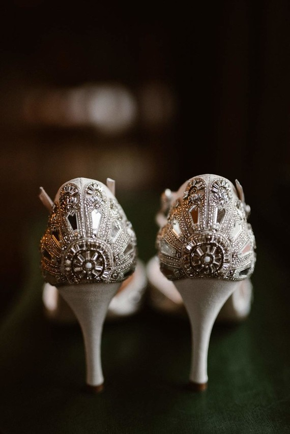 Bejeled bridal shoes with cutouts reminded of the Roaring 20s epoch