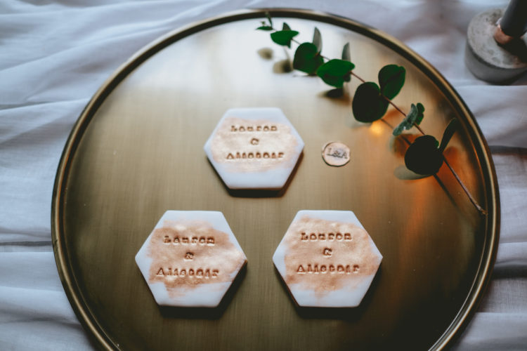 The place cards were marble and copper for an eye-catchy look
