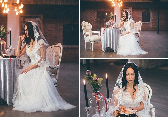 The second bridal look was with a lace dress with a V neckline and a V cut back and a lace veil