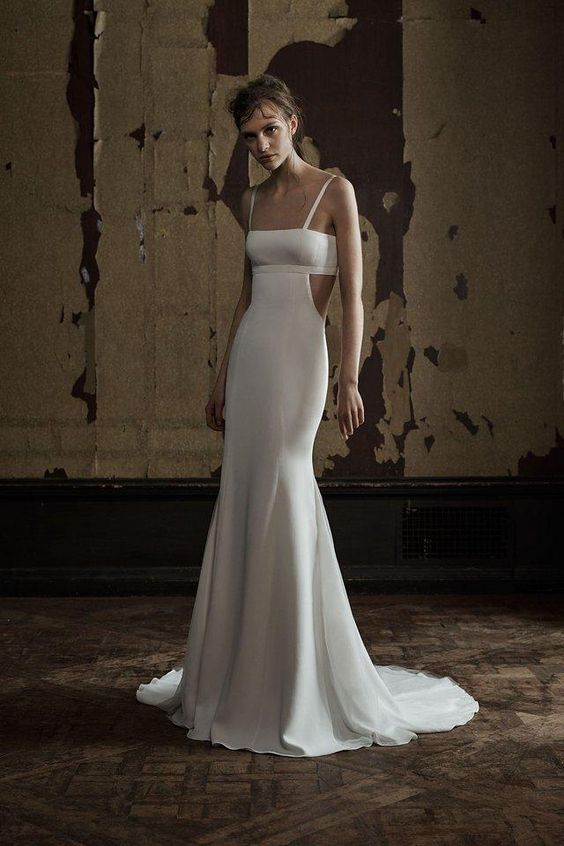 Vera Wang mermaid dress with side cutouts and spaghetti straps