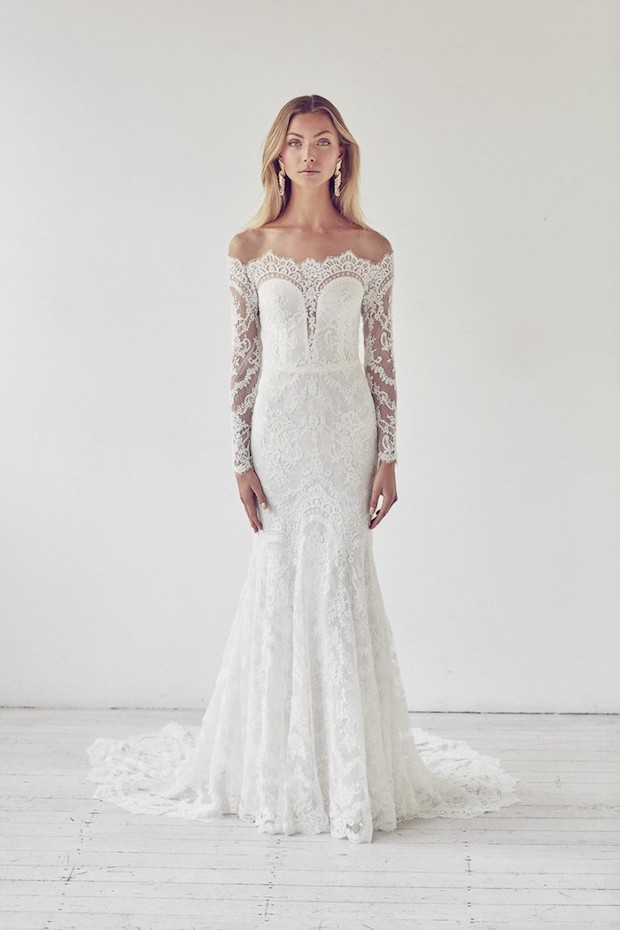 all-lace off the shoulder wedding dress with sleeves and a train