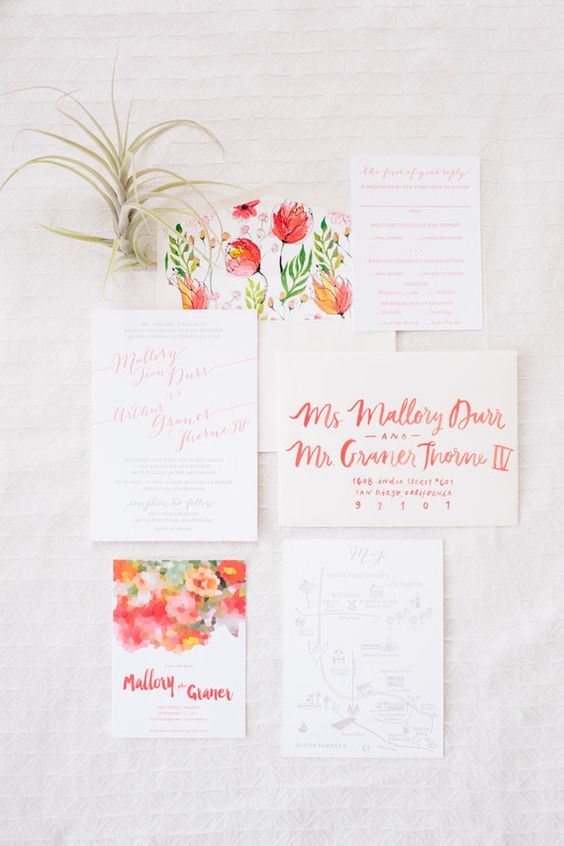 bold watercolor wedding invitations with flower decor