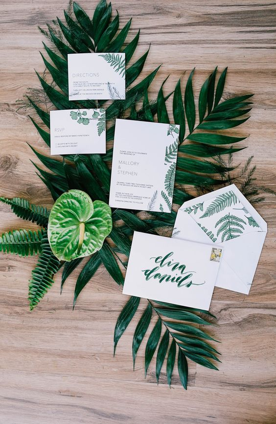 botanical print wedding stationary