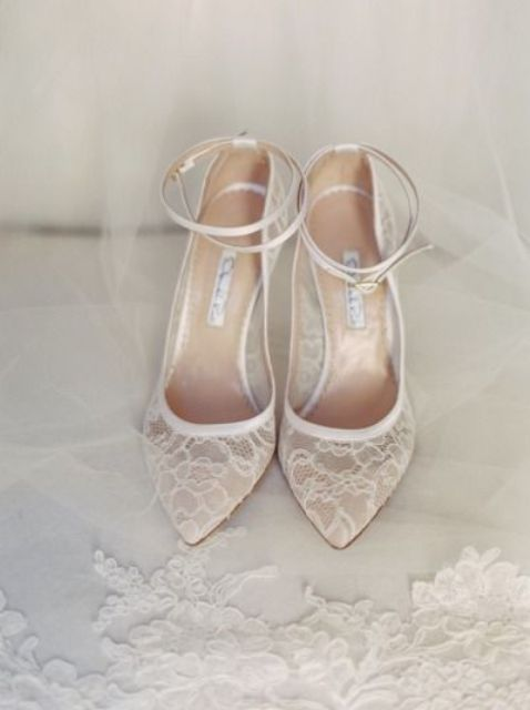 chic lace wedding shoes with ankle straps